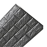 LKXHarleya 27.56x11.81 Inch 3D Waterproof Brick Wall Stickers Peel and Stick Foam Self-adhesive Wall Panels for TV Living Room Background Deco,Dark Grey