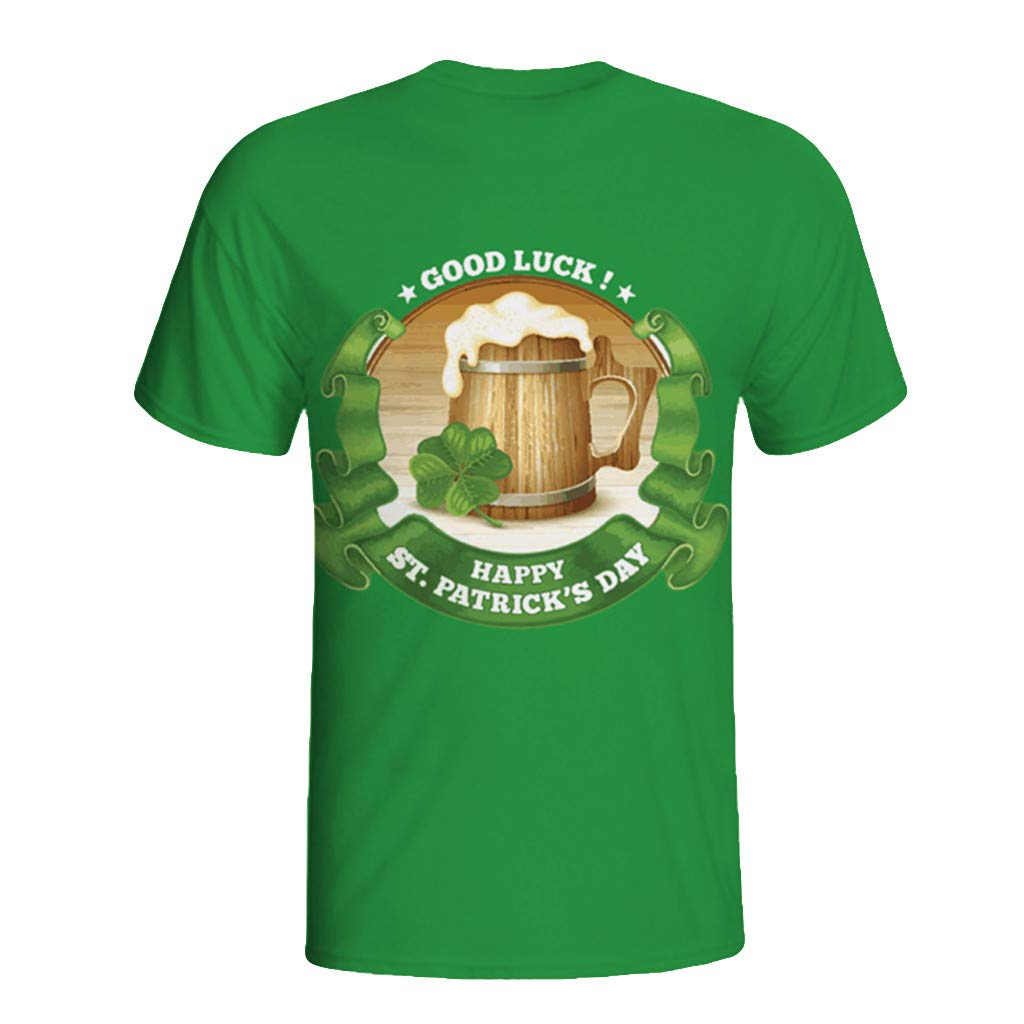 NUWFOR Mens 3D Print Casual St. Patrick's Day Short-Sleeved Shirt Top Blouse(Green,L US Chest:42.5''