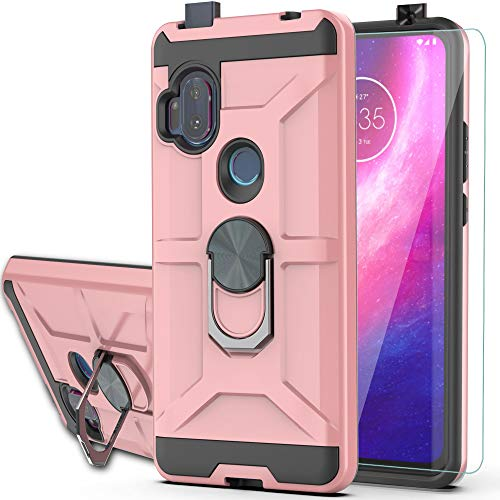 """Motorola One Hyper Case One Hyper Case with HD Screen Protector YmhxcY 360 Degree Rotating Ring Kickstand Holder Dual Layers of Shockproof Phone Case for Motorola One Hyper 6.5""""-ZS Rose Gold"""