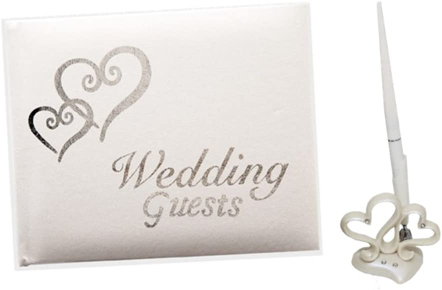 Wedding Guest Book and Pen Accessory Set with Silver Hearts