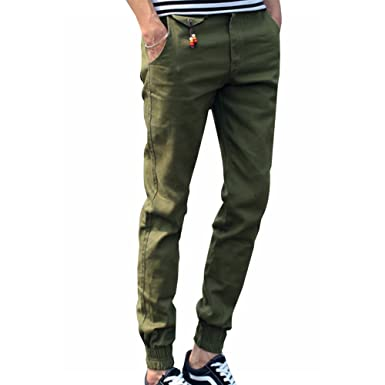 3a8a12c2 LONGBIDA Mens Skinny Joggers Chinos Slim Pants Men Trousers Hip Hop  Pantalones Hombre(Army Green