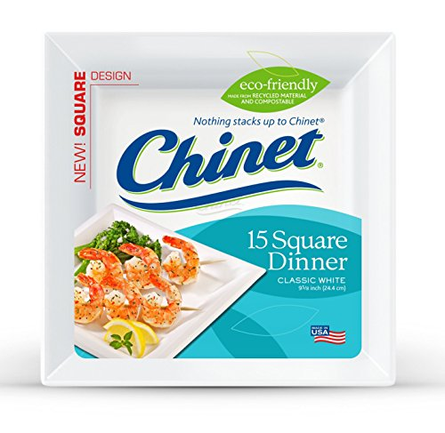 Chinet Classic White Dinner Plate, White, Square, 9-1/2 Inch, 15 Count
