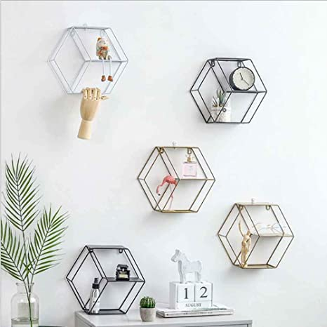 S BE Jyuesi Esagonale Geometrica Griglia di Ferro Mensola da Parete Mensola Esagonale Mensola Espositore Rack Innovativo per Decorazione Casa