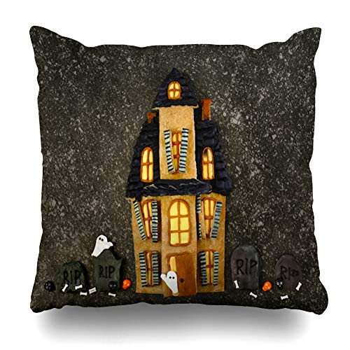 Pakaku Decorativepillows Case Throw Pillows Covers for Couch/Bed 18 x 18 inch,Halloween Cookies Autumn Black Cake Candy Food Ghost Home Sofa Cushion Cover Pillowcase Gift Bed Car Living -