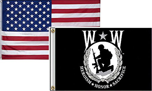 - ALBATROS 3 ft x 5 ft USA American with Wounded Warrior Heroism Flag 2 Pack for Home and Parades, Official Party, All Weather Indoors Outdoors