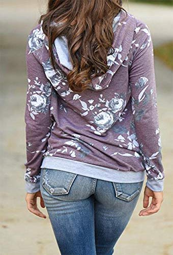 Barlver Women's Casual Hoodies Long Sleeve Sweatshirts Cowl Neck Floral Printed Hooded Pullover Top with Pockets by Barlver (Image #3)