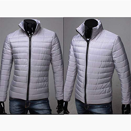 Long BOLAWOO Jacket Jacket Jacket with Outwear Winter Fashion Zipper Stand Jacket Hooded Quilted Sleeve Zip Brands Down Collar Grau with Men's rrqw4P
