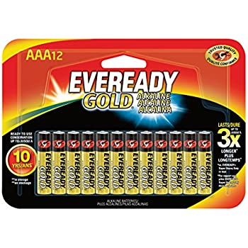 Eveready Gold AAA Batteries, Alkaline Triple A Battery (12 Count) A92BP-12