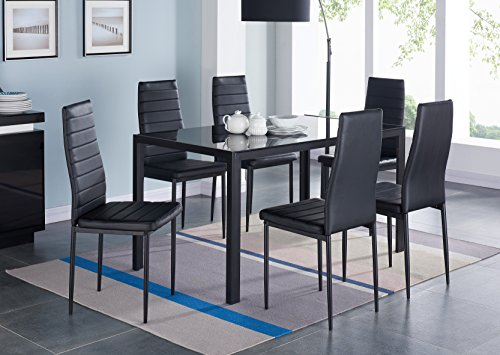 IDS 7 PCS Glass Dining Table and Chairs Set Glass Top Metal Leg Frame Home Furniture Dinnete Rectangular Black +Placemat