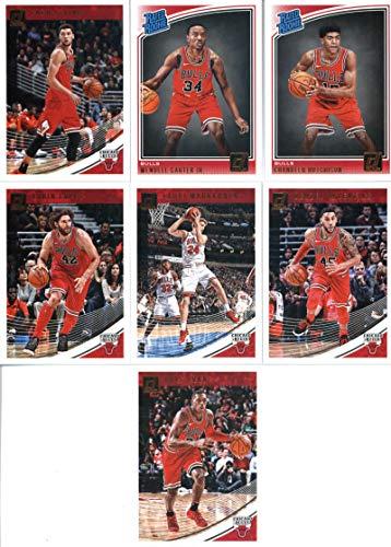 2018-19 Donruss Basketball Chicago Bulls Team Set of 7 Cards: (Rookies included) Kris Dunn(#58), Zach LaVine(#68), Denzel Valentine(#78), Lauri Markkanen(#88), Robin Lopez(#98), Chandler Hutchison(#166), Wendell Carter Jr.(#170) Panini