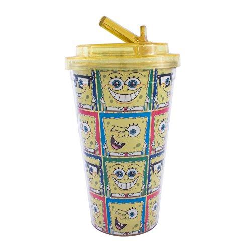 Silver Buffalo SG6884 Nickelodeon SpongeBob Grid Plastic Flip Straw Cup, 16-Ounces