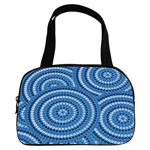 iPrint Strong Durability Small Handbag Pink,Navy Blue Decor,Abstract Aboriginal Ethnic Indigenous Australian Mosaic Style Dots Boho Art,Dark Blue,for Students,3D Print Design.6.3