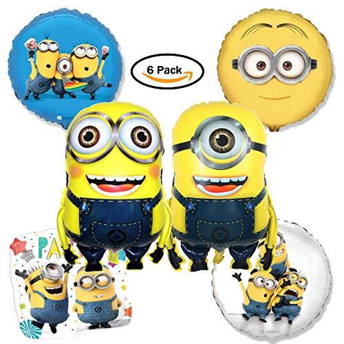 Minion Balloon Birthday Decorations - 6 Pack Set