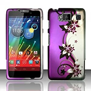 Purple Vines Hard Case Snap On Rubberized Cover For Motorola Droid RAZR Maxx HD 4G