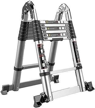 ZAIHW Una Escalera Plegable de Aluminio del Marco telescópico Extensible Extensión Pasos escaleras portátiles Plegables de Interior al Aire Libre de la Capacidad de Carga 330lbs (Size : 2.2+2.2m): Amazon.es: Hogar