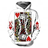Heart Of The Cards Men Hoodie 3D Graphic Print Playing Poker King Sweatshirts Hip Hop Style Hooded Tracksuit Fashion Pullover The King Poker Print 4XL
