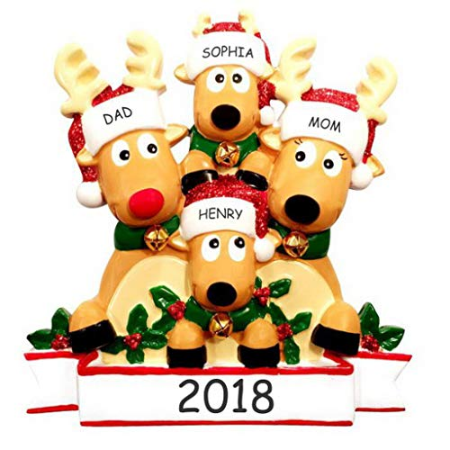 Ornament Tree Personalized Christmas (DIBSIES Personalization Station Personalized Cozy Reindeer Family Christmas Ornament (Reindeer Family of 4))