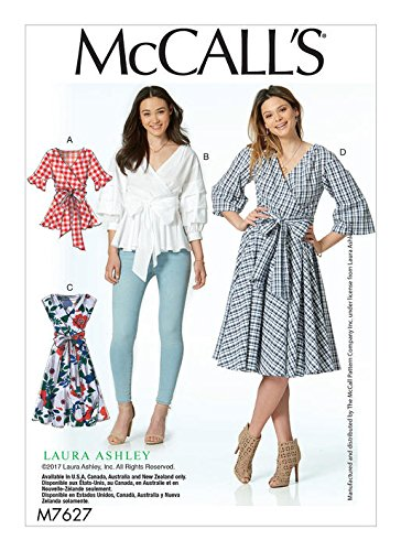 MCCALLS M7627 Misses' Wrap Tops and Dresses with Waist Tie (SIZE 14-22) SEWING PATTERN (Sew Wrap Dress)