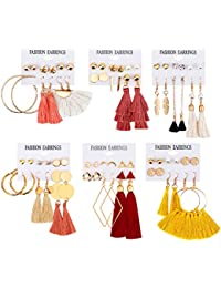 36 PairsTassel Earrings Layered Long Thread Ball Dangle Earrings Stud Earring Bohemian Tiered Tassel Drop Earrings Fashion Jewelry for Women Girls Valentine Birthday Party Gifts