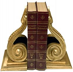 HMH 6625BE AG Beaded Scroll Bookends S-2 Antique Gold