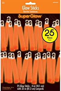 Amscan Party Centre Glow Sticks - Orange, Pack of 25