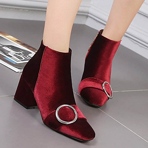 YE Damen Chunky Heels Ankle Boots Stiefeletten mit Reißverschluss und Blockabsatz 6cm Bequem Elegant Schuhe Rot