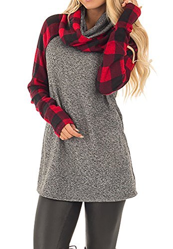 Plaid Cowl Neck (Karlywindow Women Long Sleeve T Shirts Cowl Neck Tunic Tops Plaid Contrast Sweatshirts Pullovers)