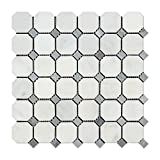 Oriental White (Eastern White) Marble Octagon Mosaic Tile (Honed, Blue Dots)