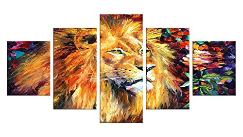 [Lion Decal 5 Pieces Canvas Wall Art - Oil Painting Printed Wall Decor - Unframed Decoration for Home - Lion Head, Gold Lion Wall Decal, Roaring Lion, Lion Face] (Rafiki Lion King Halloween Costume)