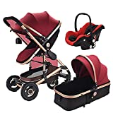 QIQI Baby Stroller High Landscape Multi-Function Can Sit Two-Way Shock Absorber Folding Trolley,red
