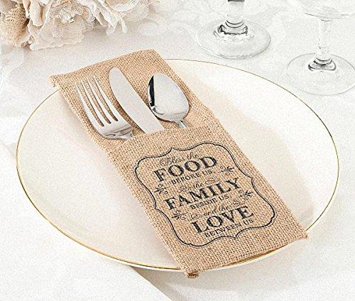 100pcs/Lot ''FOOD FAMILY LOVE'' Burlap Silverware Holders Rustic Wedding Reception Table Decoration Cutlery Pockets