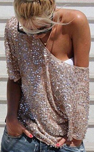 Sexy Tops Senza Paillettes Camicetta Moda Pipistrello Bluse Spalline shirt T da a Donna Sciolto Camicia a da Newlife 10qTgnYAA