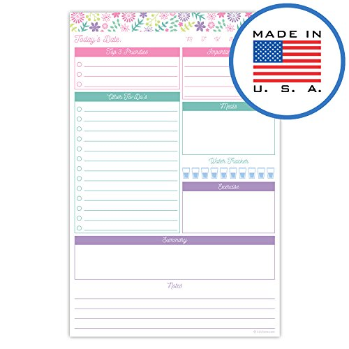 321Done Daily Planning Pad - 50 Sheets (5.5 x 8.5) - Day to Do List Planner Checklist Organizing Tear Off Notepad - Made in USA - Floral Collage