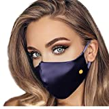Organic Mulberry Silk Face Mask - Luxurious 100% Silk Masks for Women; Silk Mask with Filter Pocket | Adjustable Nose Wire by THREE PEBBLES (Navy Blue) (Color: Navy Bue, Tamaño: Medium)