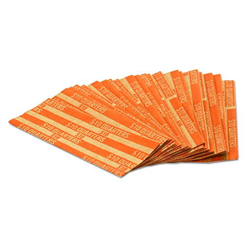 MMF Industries Pop-Open Flat Paper Coin Wrappers, Quarters, Orange, 1000 Wrappers per Box (Mmf Quarters Coin Wrapper)
