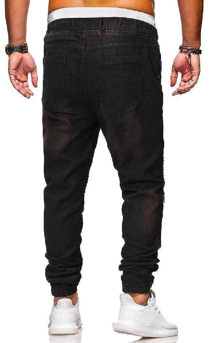 KLJR Men Drawstring Pleated Slim Mid Waist Zip Trim Casual Jeans Denim Pants