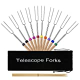 VicTsing Marshmallow Roasting Sticks Set of 10 Extra Long Stainless Steel Rotating Hot Dog Forks & Smores Skewers Telescoping-32inch