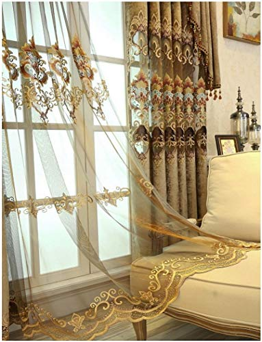 (TIYANA Brown Embroidered Sheer Curtains for Villa 84 inch Long Luxury Embroidery Screening Sheer Tulle Voile Embroidered Gauze Curtains for Bedroom, Custom Made Size & Valance, 1 Piece 114x84 inch)