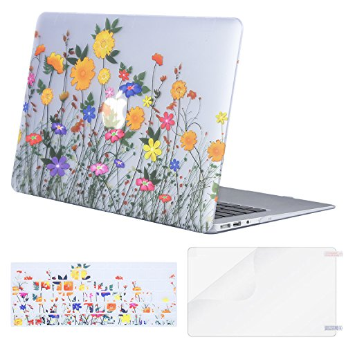 MOSISO MacBook Air 13 Inch Case (Release 2010-2017 Older Version), Plastic Pattern Hard Case & Keyboard Cover & Screen Protector Only Compatible MacBook Air 13 (A1369 & A1466), Sunflower