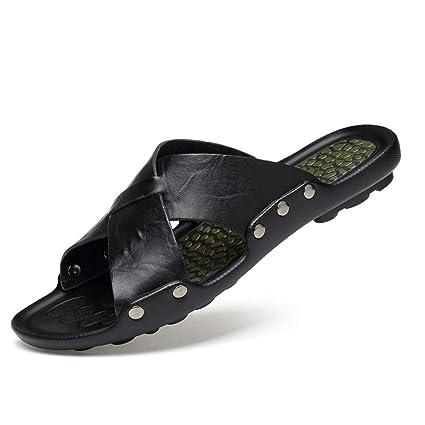 a9246fd9bd7 HZH Black Men's Slippers Summer Non-Slip Cross Slippers English ...