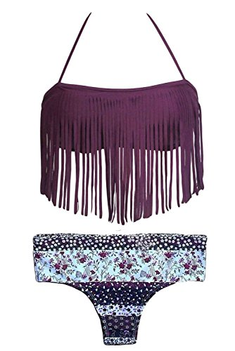 HOTAPEI Women Dark Purple Halter Fringed Floral Printed Bikini Swimsuit Small Thong Bottom
