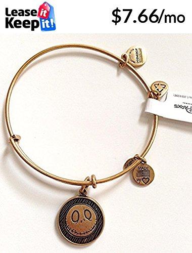 Disney Parks Alex and Ani Jack Skellington Goldtone Charm Bangle Bracelet Disney Gold Tone Bracelet
