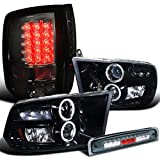 Spec-D Dodge Ram LED Halo Projector Headlight Glossy Blac...