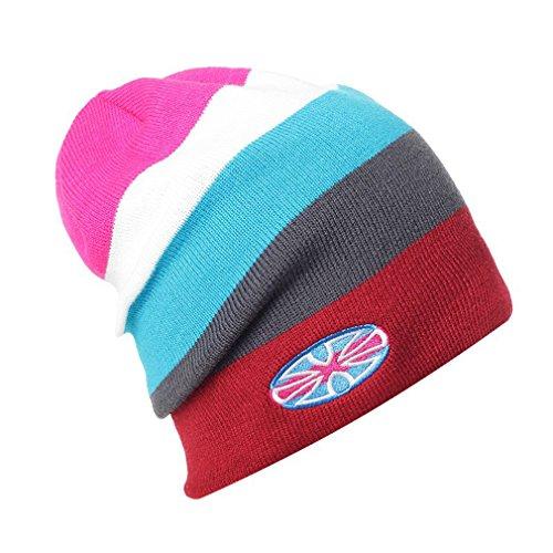 Chapeau Tricoté Jointif Acvip Ski Bonnet Rouge Motif Unisexe Vieux Hiver Couleurs Bordés qzxRxwItg