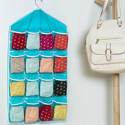 Usstore 1PC Storage Bag Portable Organizer Hanging Multifunction Clear Socks Shoe Underwear Sorting Door Bag (Blue)