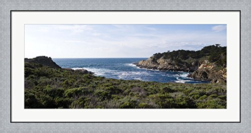 Coastline, Point Lobos State Reserve, Carmel, California by Panoramic Images Framed Art Print Wall Picture, Flat Silver Frame, 44 x 24 inches