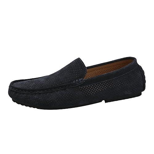 Nuoxiang Planos Mocasines Hombre Slip On Zapatos de PU Cuero Ocasionales Huecos Respirables Nauticos Zapatos para Conducir el Coche: Amazon.es: Zapatos y ...