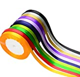 Aokbean 10pcs 3/8 Inch Assorted Solid Bright Colors 25 Yard Each- Total 250 Yds Satin Ribbon Roll Bow Making Ribbons for Gift Wrap DIY Bow Wedding Decoration (Mixed2)