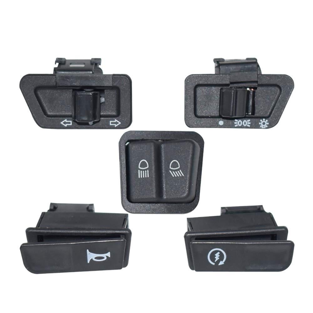 SGTGB Botones de Interruptor de Motocicleta de 5 Piezas Luz de Niebla Luz de V/ía Bocina Intermitente Blinker Alta Baja Haz Bot/ón de Apagado El/éctrico para Honda Color : Negro