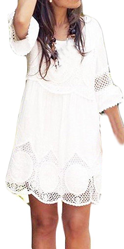 Damen Sommerkleider Kurz Für Mollige Festlich Elegant Mit Spitze Hohle Weiß Große Größen 3/4 Ärmel Kleider Rundkragen Strandkleid Partykleider Abschlusskleid Abschlussballkleid